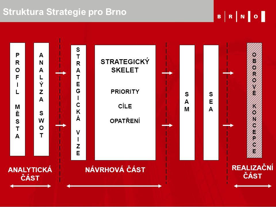 Struktura Strategie pro Brno PROFILMĚSTAPROFILMĚSTA ANALÝZASWOTANALÝZASWOT STRATEGICKÝ SKELET PRIORITY CÍLE OPATŘENÍ ANALYTICKÁ ČÁST NÁVRHOVÁ ČÁST STR