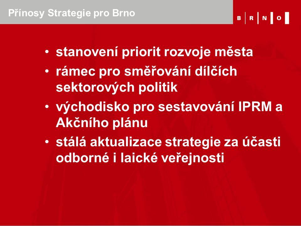 Přínosy Strategie pro Brno stanovení priorit rozvoje města rámec pro směřování dílčích sektorových politik východisko pro sestavování IPRM a Akčního p