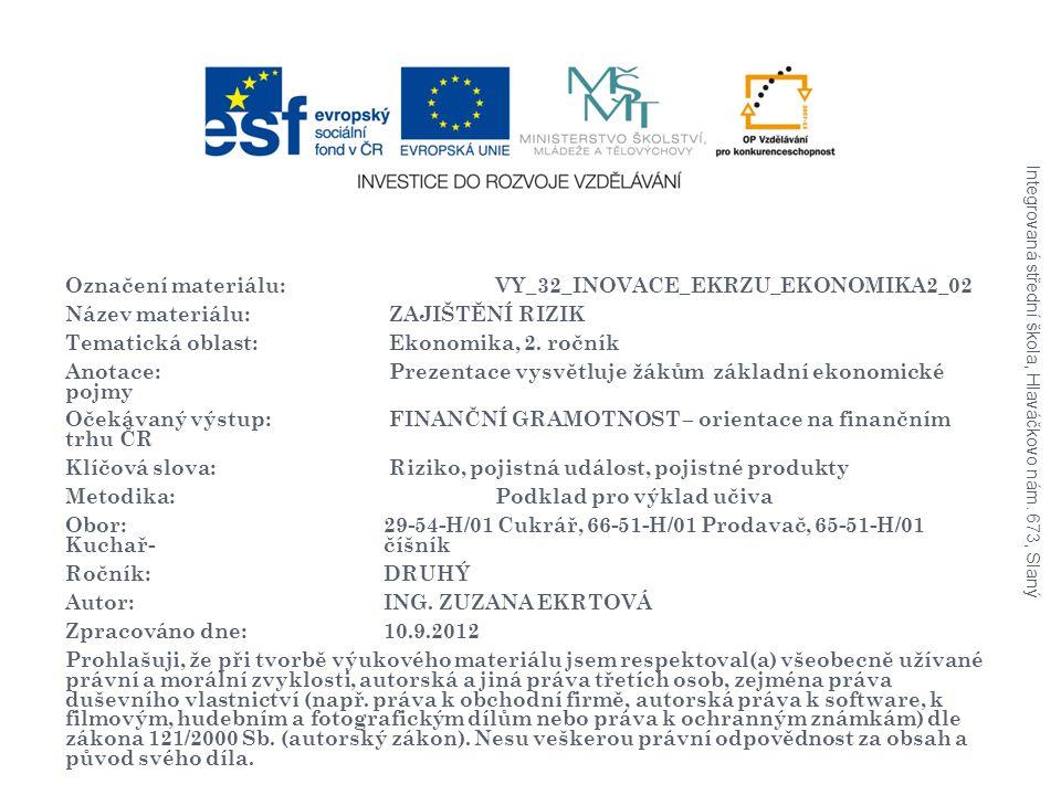 Označení materiálu: VY_32_INOVACE_EKRZU_EKONOMIKA2_02 Název materiálu: ZAJIŠTĚNÍ RIZIK Tematická oblast: Ekonomika, 2.
