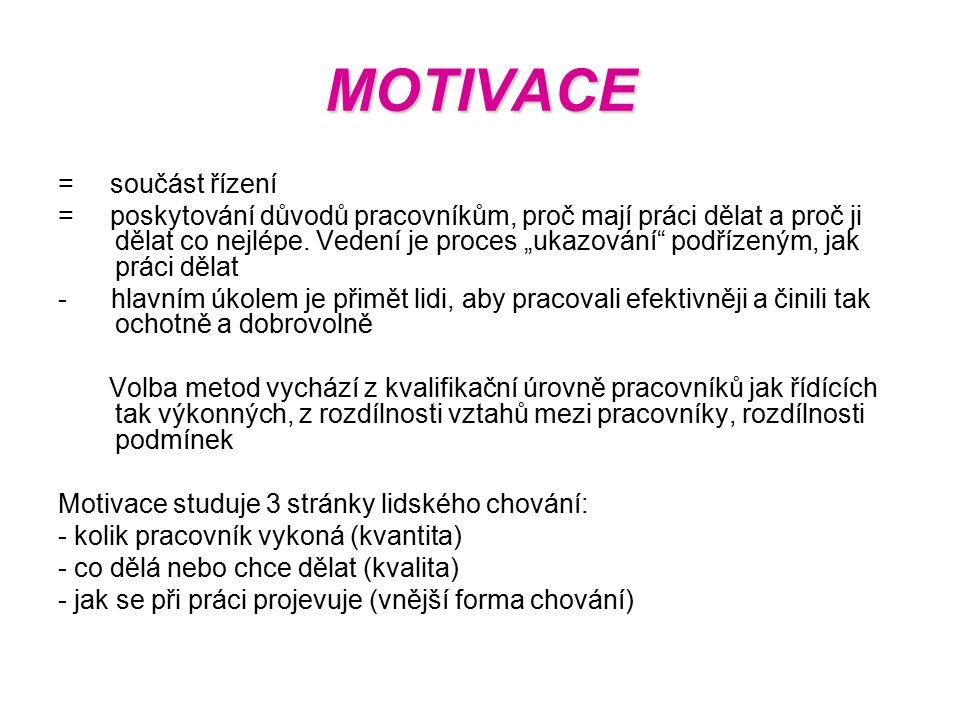 """MOTIVACE = součást řízení = poskytování důvodů pracovníkům, proč mají práci dělat a proč ji dělat co nejlépe. Vedení je proces """"ukazování"""" podřízeným,"""