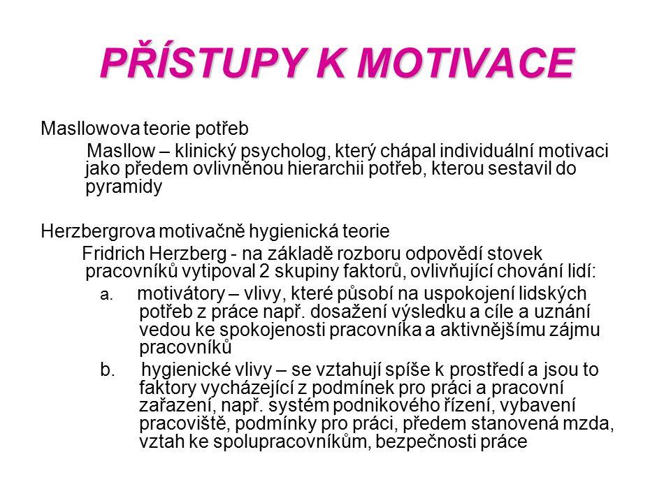 PŘÍSTUPY K MOTIVACE Masllowova teorie potřeb Masllow – klinický psycholog, který chápal individuální motivaci jako předem ovlivněnou hierarchii potřeb