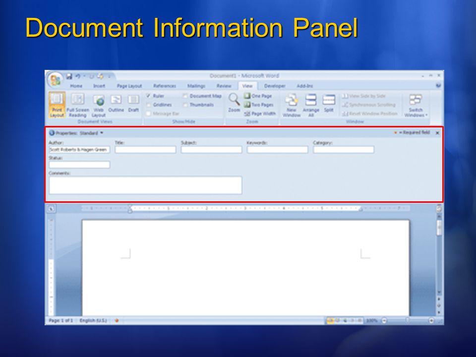 Document Information Panel