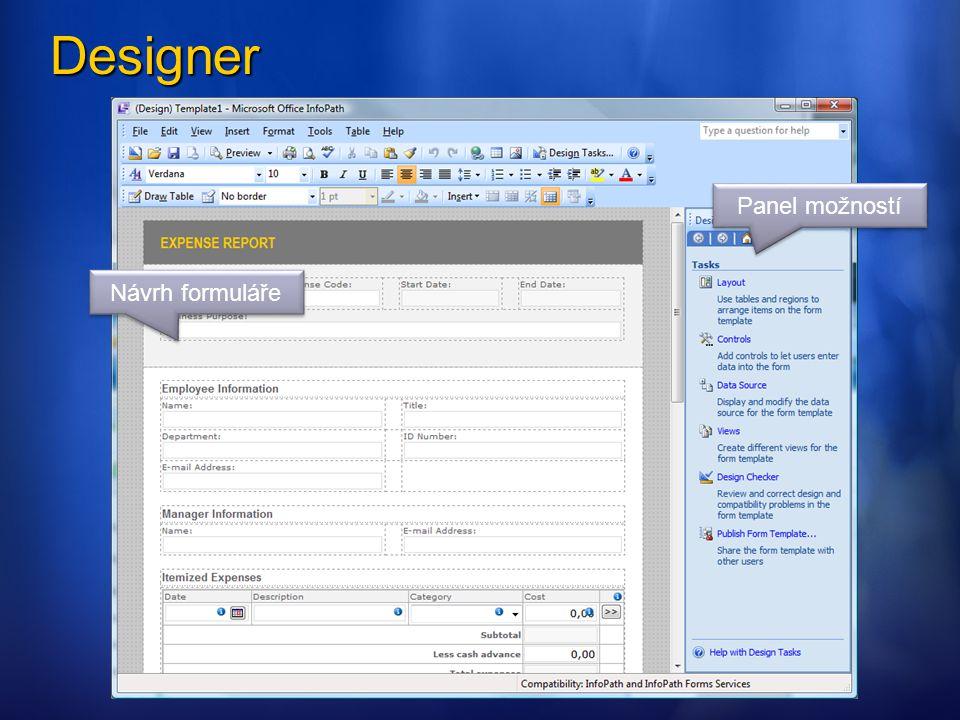 Designer Panel možností Návrh formuláře