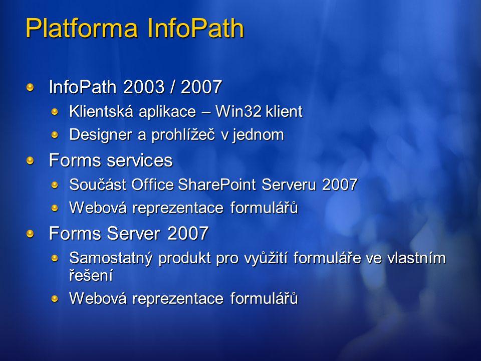 Platforma InfoPath InfoPath 2003 / 2007 Klientská aplikace – Win32 klient Designer a prohlížeč v jednom Forms services Součást Office SharePoint Serve