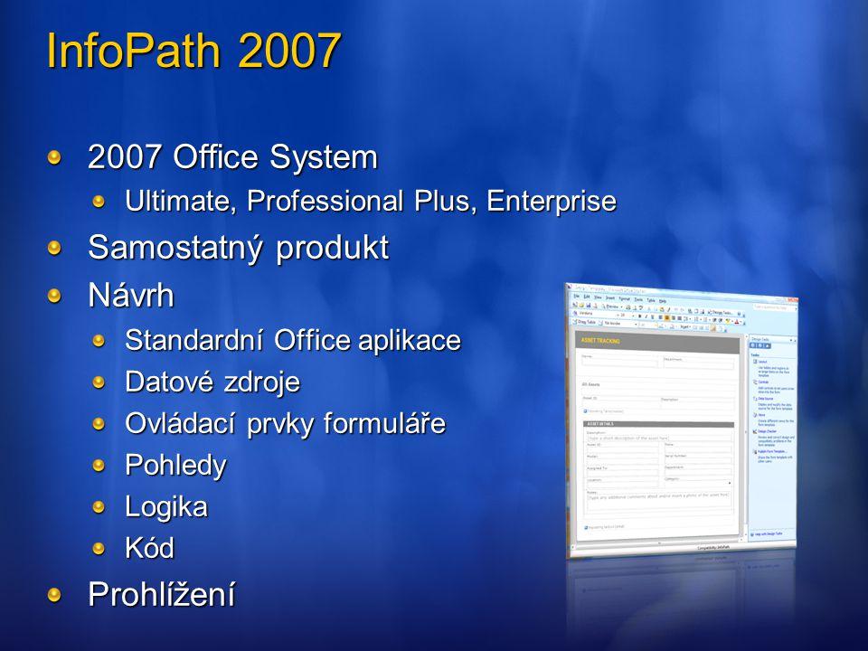 2007 Office System Ultimate, Professional Plus, Enterprise Samostatný produkt Návrh Standardní Office aplikace Datové zdroje Ovládací prvky formuláře