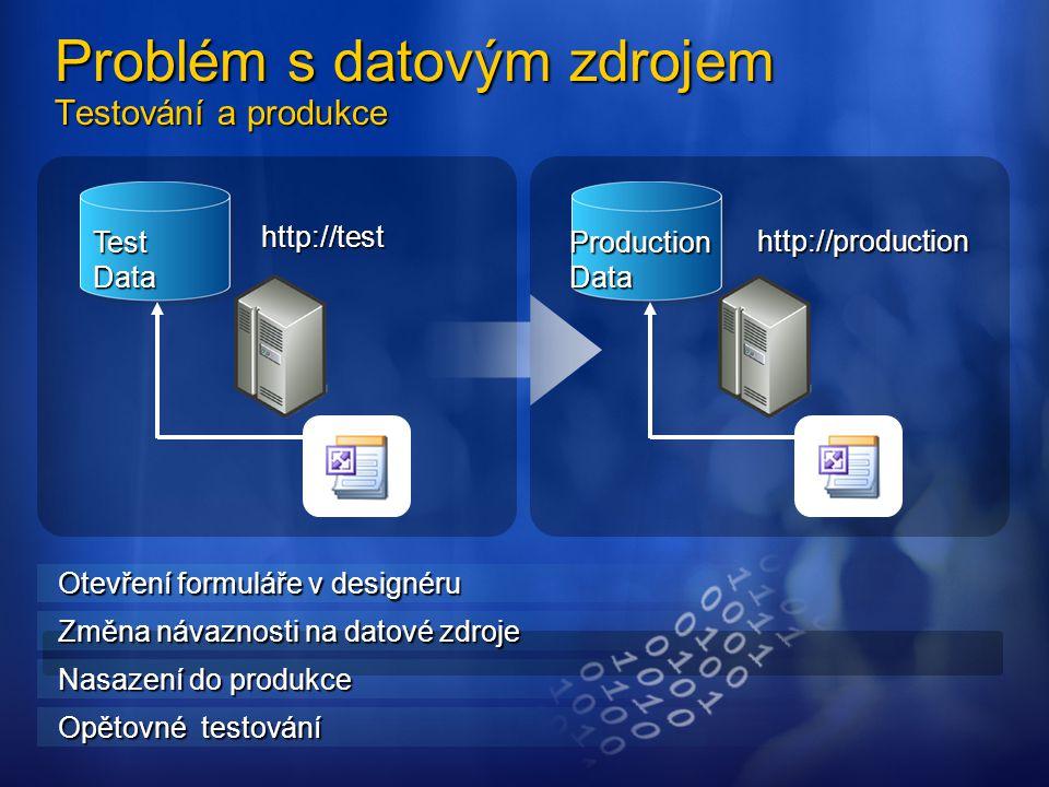 http://test http://production Problém s datovým zdrojem Testování a produkce Test Data Production Data Otevření formuláře v designéru Změna návaznosti