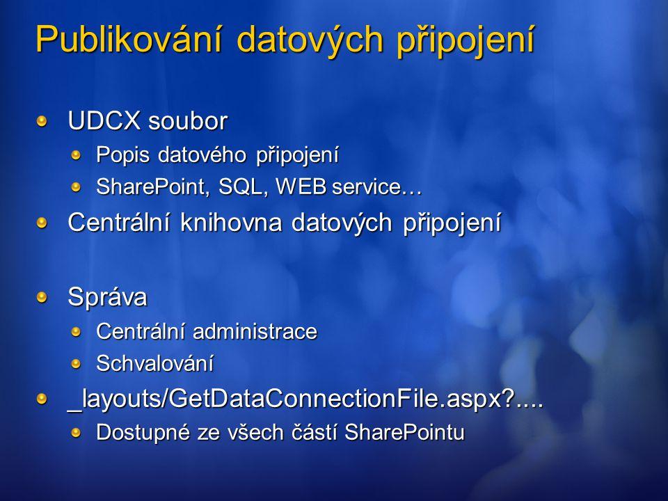 Publikování datových připojení UDCX soubor Popis datového připojení SharePoint, SQL, WEB service… Centrální knihovna datových připojení Správa Centrál