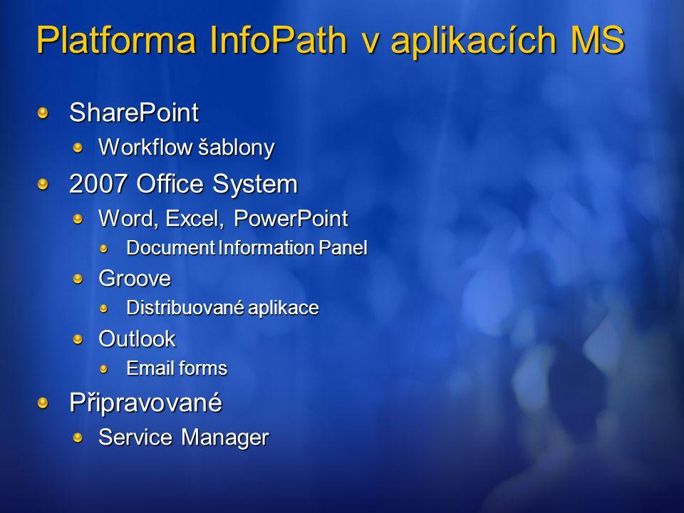 Hosting forms serveru v aplikaci Určeno pro vyplnění formulářů – ne návrh (InfoPath) ASP.NET aplikace Kontext SharePointu (vždy) – třeba publikovat do sitecollection WSS / MOSS Ideálně běží z _LAYOUTS Používá AJAX Prohlížeče IE, FireFox, Safari Mobile devices Podpora digitálních podpisů Internet Explorer http://msdn2.microsoft.com/en-us/library/aa701078.aspx