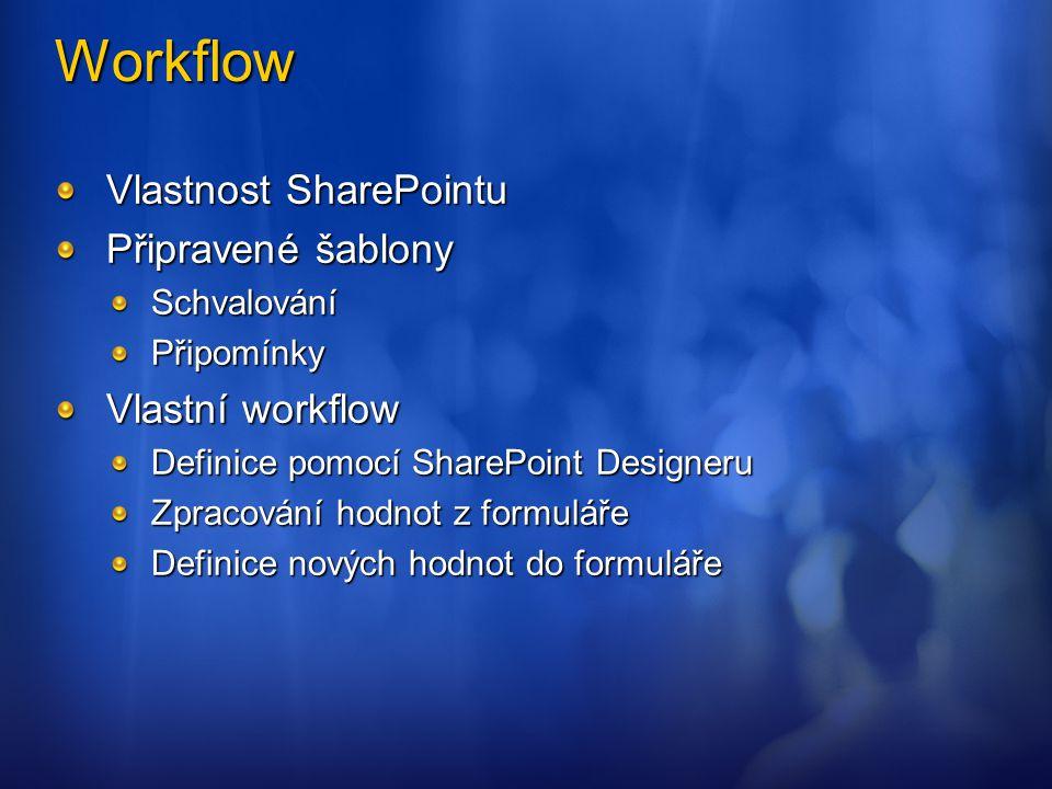 Workflow Vlastnost SharePointu Připravené šablony SchvalováníPřipomínky Vlastní workflow Definice pomocí SharePoint Designeru Zpracování hodnot z form