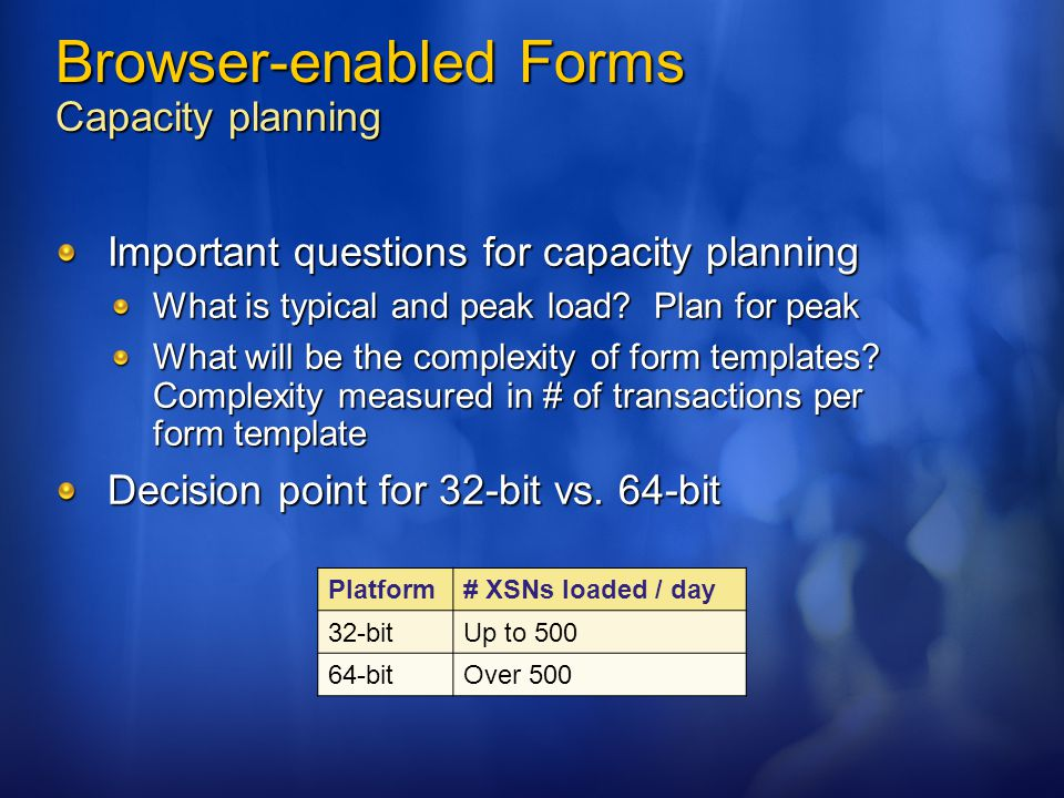 Browser-enabled Forms Capacity planning Important questions for capacity planning What is typical and peak load? Plan for peak What will be the comple