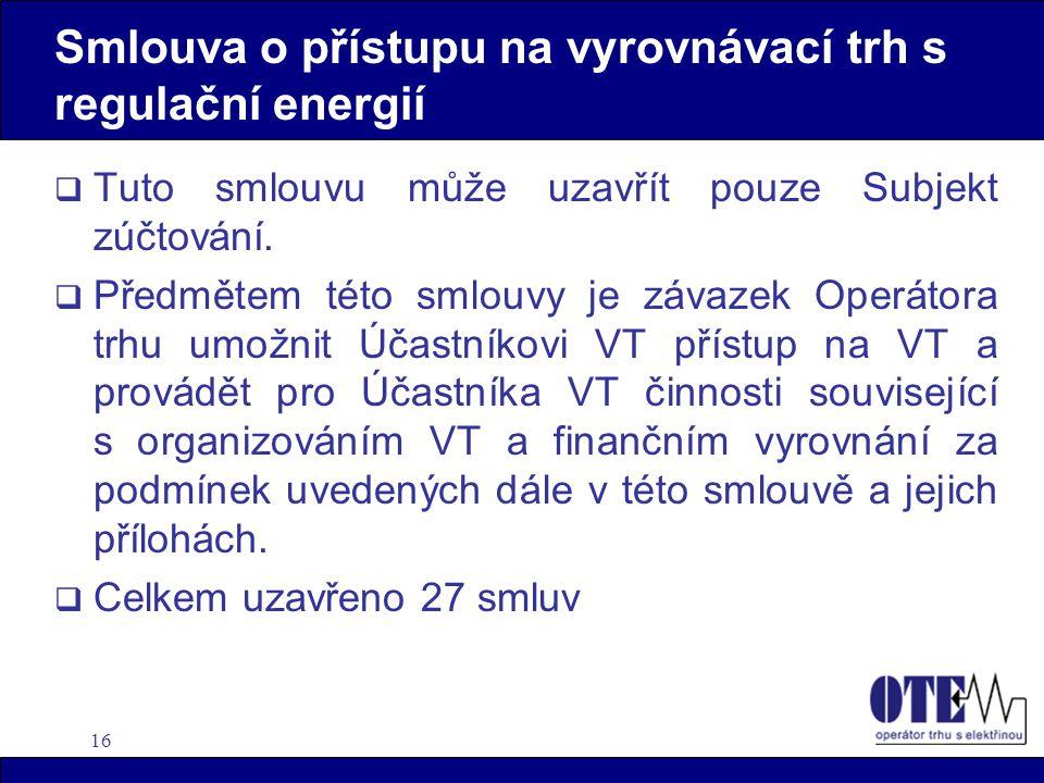 16 Smlouva o přístupu na vyrovnávací trh s regulační energií  Tuto smlouvu může uzavřít pouze Subjekt zúčtování.