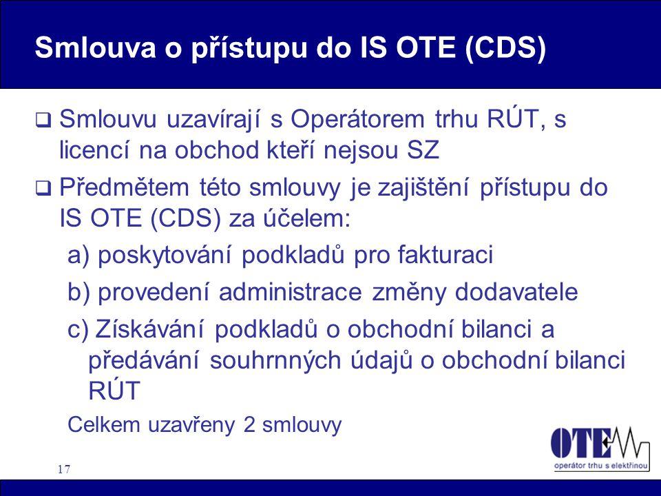 17 Smlouva o přístupu do IS OTE (CDS)  Smlouvu uzavírají s Operátorem trhu RÚT, s licencí na obchod kteří nejsou SZ  Předmětem této smlouvy je zajištění přístupu do IS OTE (CDS) za účelem: a) poskytování podkladů pro fakturaci b) provedení administrace změny dodavatele c) Získávání podkladů o obchodní bilanci a předávání souhrnných údajů o obchodní bilanci RÚT Celkem uzavřeny 2 smlouvy