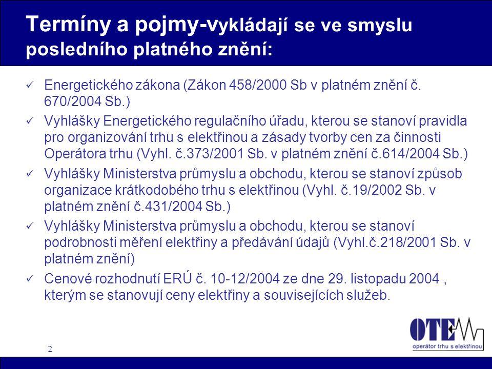 3 Registrovaný účastník trhu - RÚT  U Operátora trhu s elektřinou, a.s.