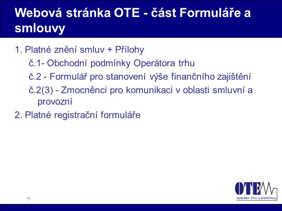 7 Webová stránka OTE - část Formuláře a smlouvy 1.