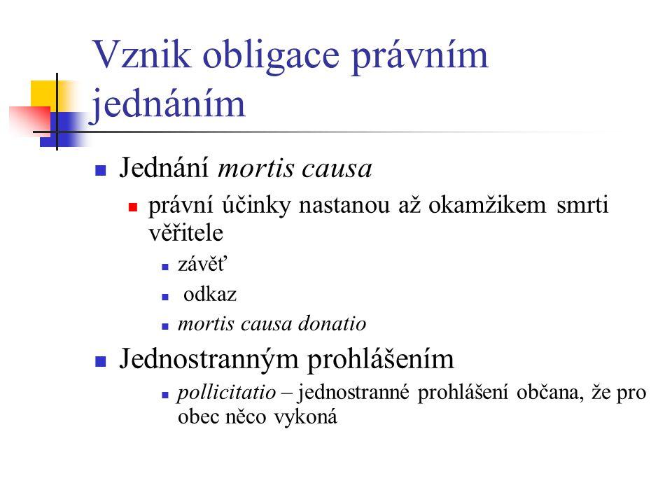 Vznik obligace právním jednáním Jednání mortis causa právní účinky nastanou až okamžikem smrti věřitele závěť odkaz mortis causa donatio Jednostranným