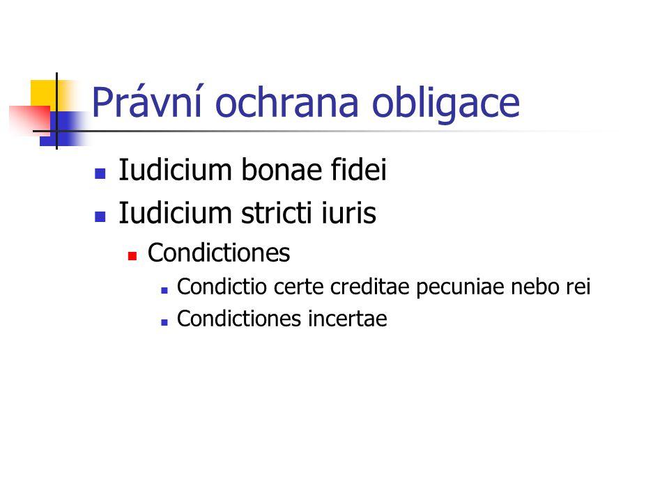 Právní ochrana obligace Iudicium bonae fidei Iudicium stricti iuris Condictiones Condictio certe creditae pecuniae nebo rei Condictiones incertae