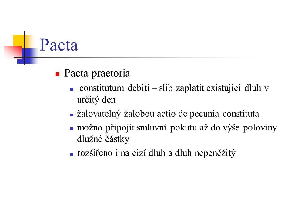 Pacta Pacta praetoria constitutum debiti – slib zaplatit existující dluh v určitý den žalovatelný žalobou actio de pecunia constituta možno připojit s
