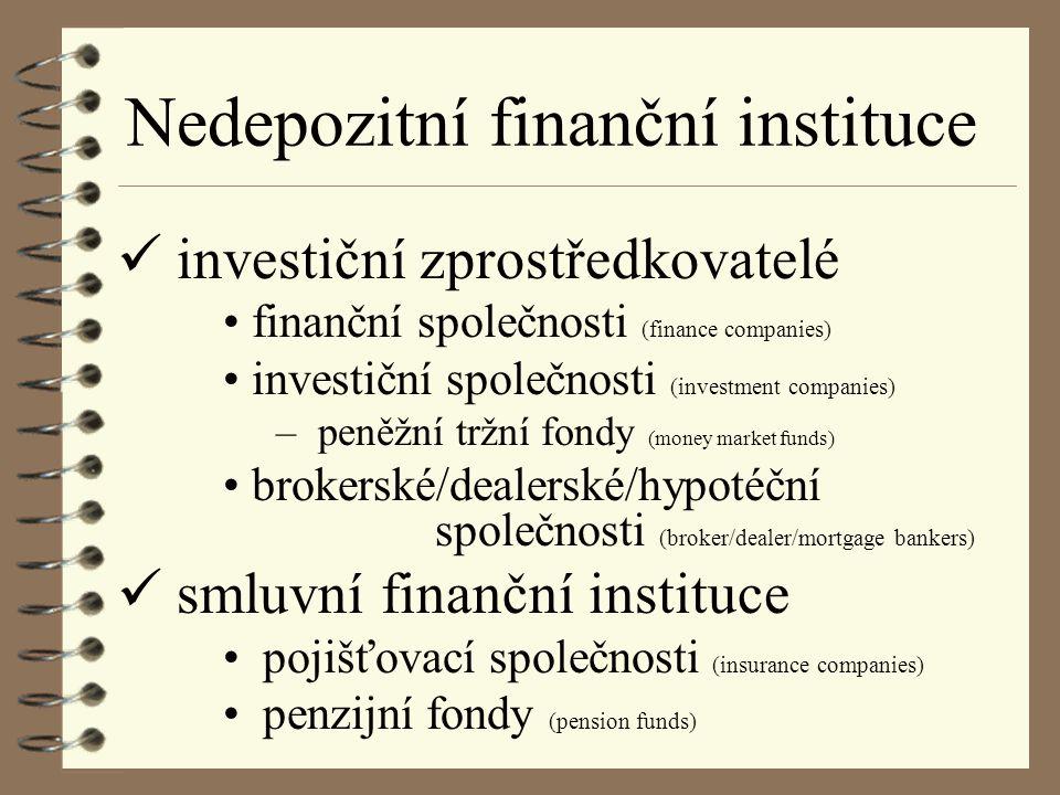 FINANČNÍ SPOLEČNOSTI poskytují úvěry + angažují se v leasingu drobným spotřebitelůmspotřebitelský i komerční i firmám pobočky výrobních firem (Škofin) zdroje na finančním trhu a úvěry od bank emisí krátkodobých imenší finanční dlouhodobých cenných papírů společnosti