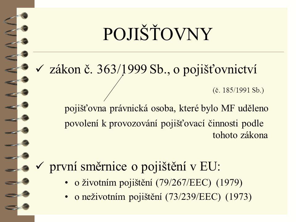 POJIŠŤOVNY zákon č. 363/1999 Sb., o pojišťovnictví (č.