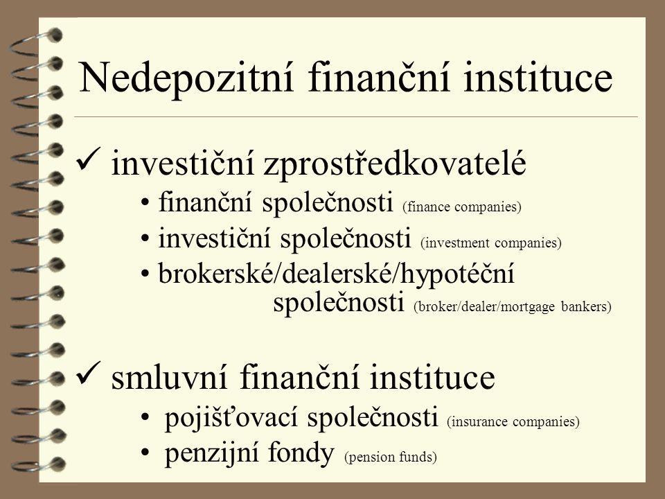 FINANČNÍ SPOLEČNOSTI poskytují úvěry + angažují se v leasingu drobným spotřebitelůmspotřebitelský i komerční i firmám pobočky výrobních firem (Škofin) zdroje na finančních trzích a úvěry od bank emisí krátkodobých imenší finanční dlouhodobých cenných papírů společnosti