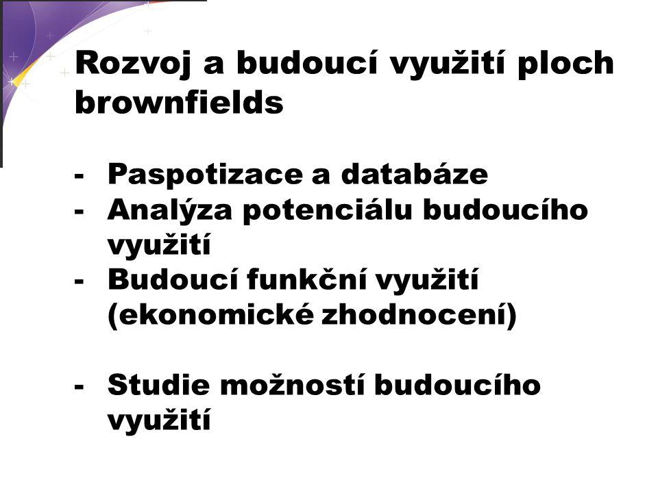 -Paspotizace a databáze -Analýza potenciálu budoucího využití -Budoucí funkční využití (ekonomické zhodnocení) -Studie možností budoucího využití