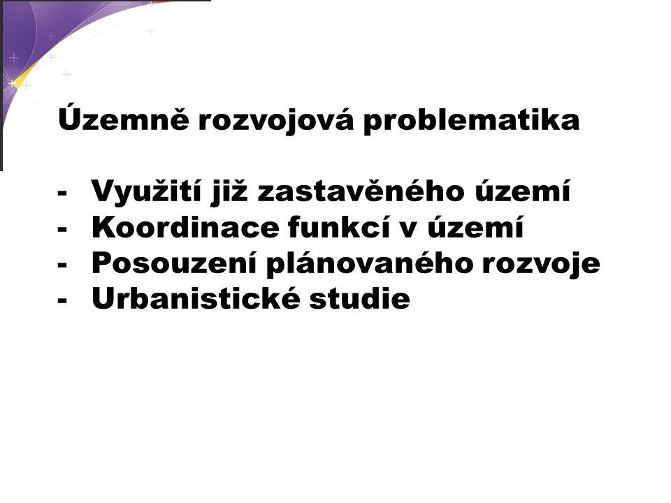 -Využití již zastavěného území -Koordinace funkcí v území -Posouzení plánovaného rozvoje -Urbanistické studie