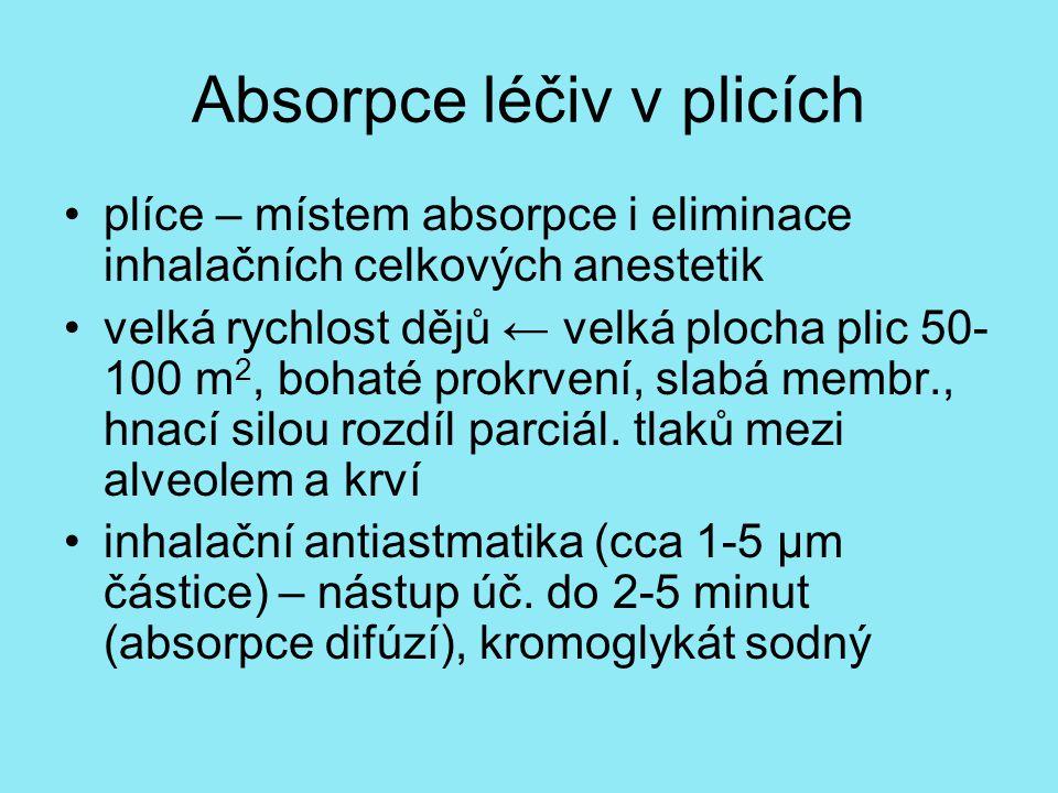 Absorpce léčiv v plicích plíce – místem absorpce i eliminace inhalačních celkových anestetik velká rychlost dějů ← velká plocha plic 50- 100 m 2, bohaté prokrvení, slabá membr., hnací silou rozdíl parciál.