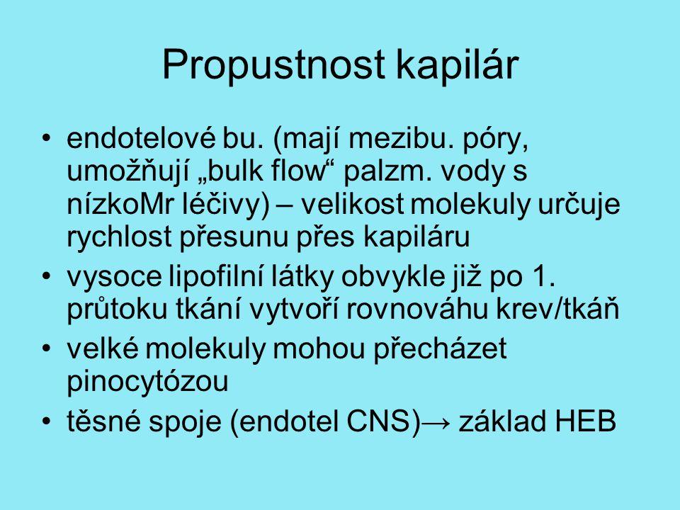 """Propustnost kapilár endotelové bu.(mají mezibu. póry, umožňují """"bulk flow palzm."""