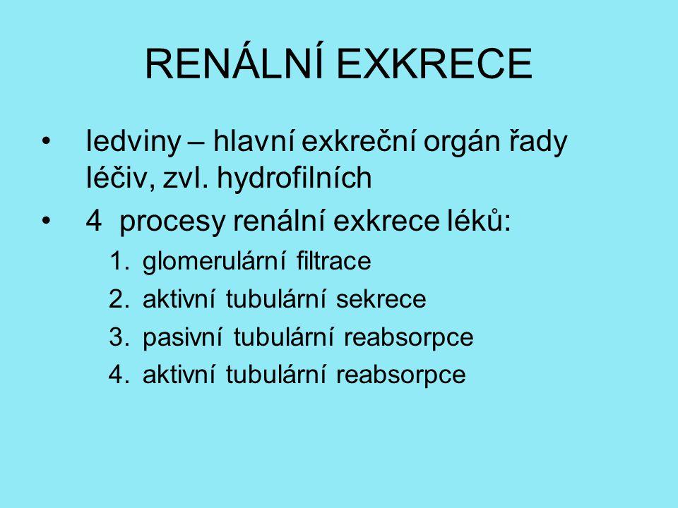 RENÁLNÍ EXKRECE ledviny – hlavní exkreční orgán řady léčiv, zvl.
