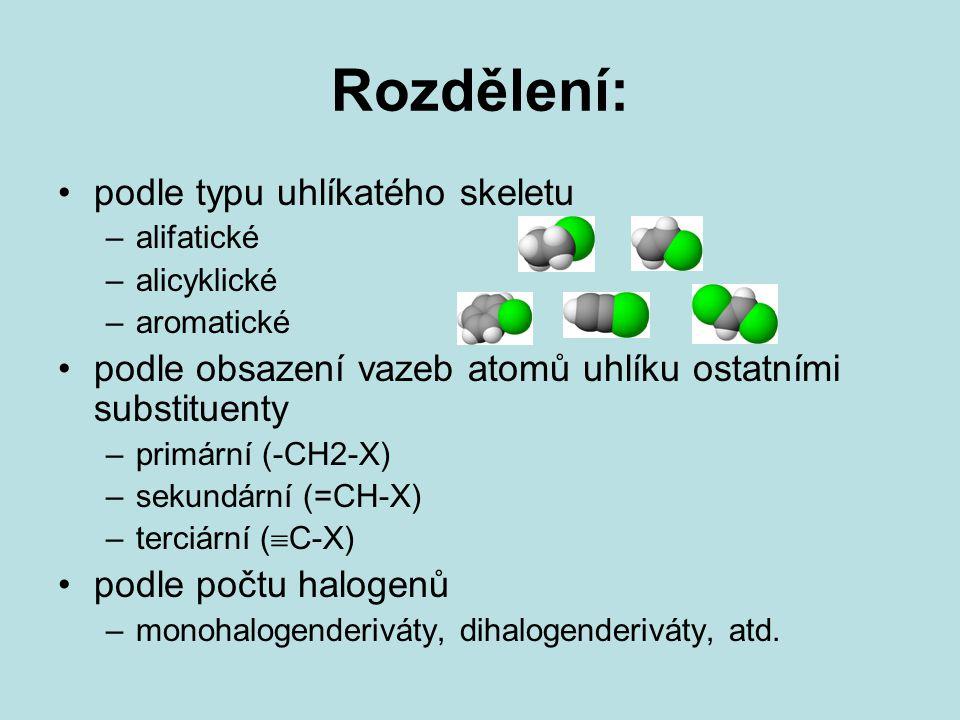 Rozdělení: podle typu uhlíkatého skeletu –alifatické –alicyklické –aromatické podle obsazení vazeb atomů uhlíku ostatními substituenty –primární (-CH2
