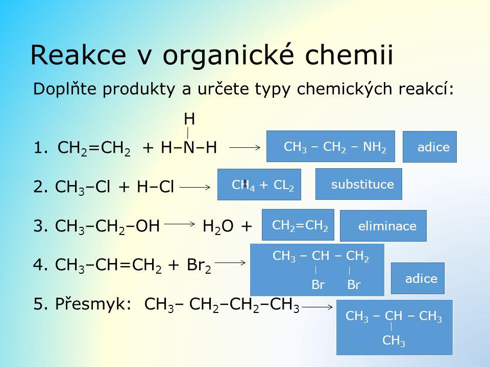 Reakce v organické chemii Doplňte produkty a určete typy chemických reakcí: H 1.CH 2 =CH 2 + H–N–H 2. CH 3 –Cl + H–Cl 3. CH 3 –CH 2 –OH H 2 O + 4. CH