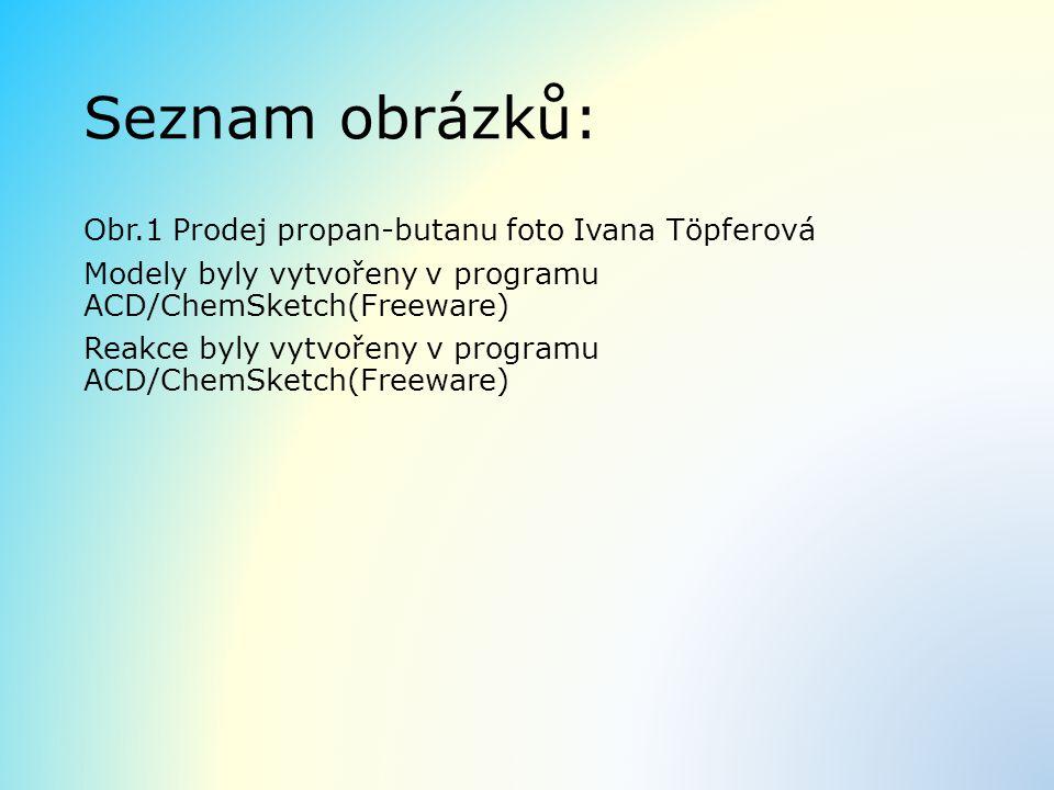 Seznam obrázků: Obr.1 Prodej propan-butanu foto Ivana Töpferová Modely byly vytvořeny v programu ACD/ChemSketch(Freeware) Reakce byly vytvořeny v prog