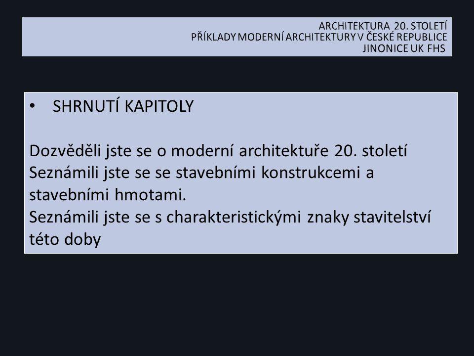 SHRNUTÍ KAPITOLY Dozvěděli jste se o moderní architektuře 20.
