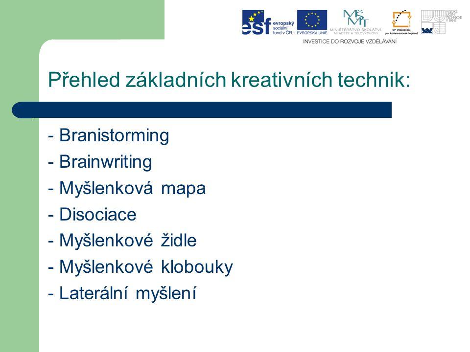 Přehled základních kreativních technik: - Branistorming - Brainwriting - Myšlenková mapa - Disociace - Myšlenkové židle - Myšlenkové klobouky - Laterá