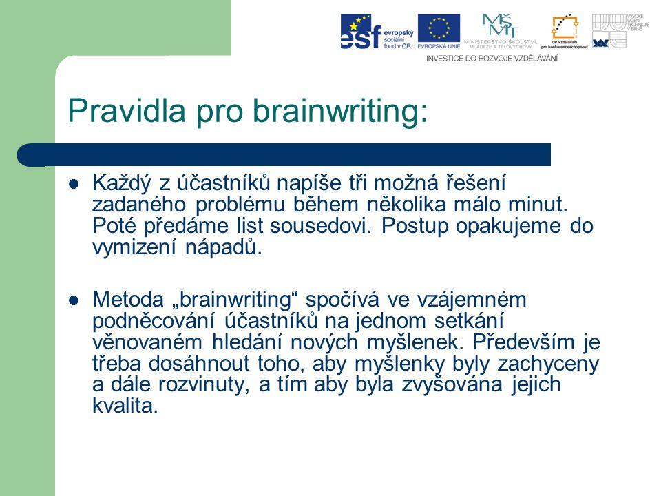 Pravidla pro brainwriting: Každý z účastníků napíše tři možná řešení zadaného problému během několika málo minut. Poté předáme list sousedovi. Postup