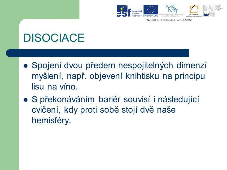 DISOCIACE Spojení dvou předem nespojitelných dimenzí myšlení, např. objevení knihtisku na principu lisu na víno. S překonáváním bariér souvisí i násle
