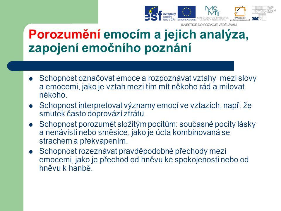 Porozumění emocím a jejich analýza, zapojení emočního poznání Schopnost označovat emoce a rozpoznávat vztahy mezi slovy a emocemi, jako je vztah mezi