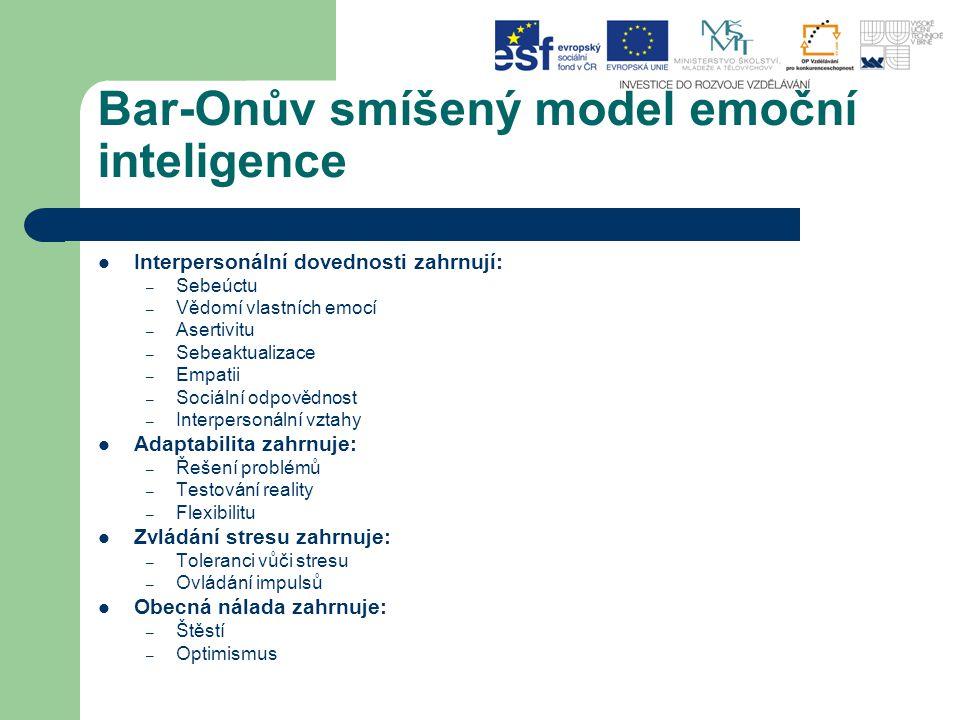 Bar-Onův smíšený model emoční inteligence Interpersonální dovednosti zahrnují: – Sebeúctu – Vědomí vlastních emocí – Asertivitu – Sebeaktualizace – Em