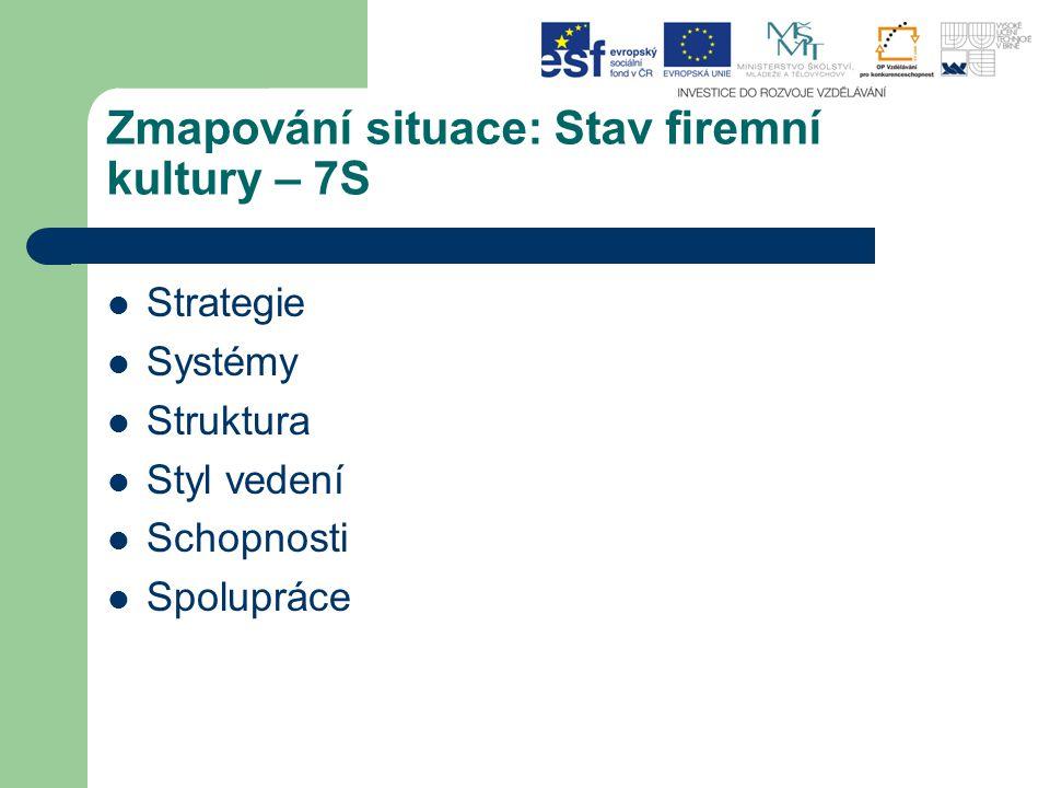 Zmapování situace: Stav firemní kultury – 7S Strategie Systémy Struktura Styl vedení Schopnosti Spolupráce