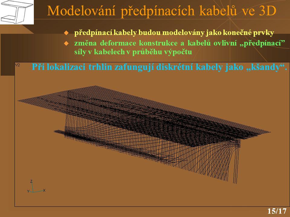 """15/17 Modelování předpínacích kabelů ve 3D  předpínací kabely budou modelovány jako konečné prvky  změna deformace konstrukce a kabelů ovlivní """"předpínací síly v kabelech v průběhu výpočtu Při lokalizaci trhlin zafungují diskrétní kabely jako """"kšandy ."""