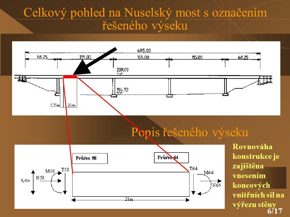 6/17 Celkový pohled na Nuselský most s označením řešeného výseku Popis řešeného výseku Rovnováha konstrukce je zajištěna vnesením koncových vnitřních sil na výřezu stěny
