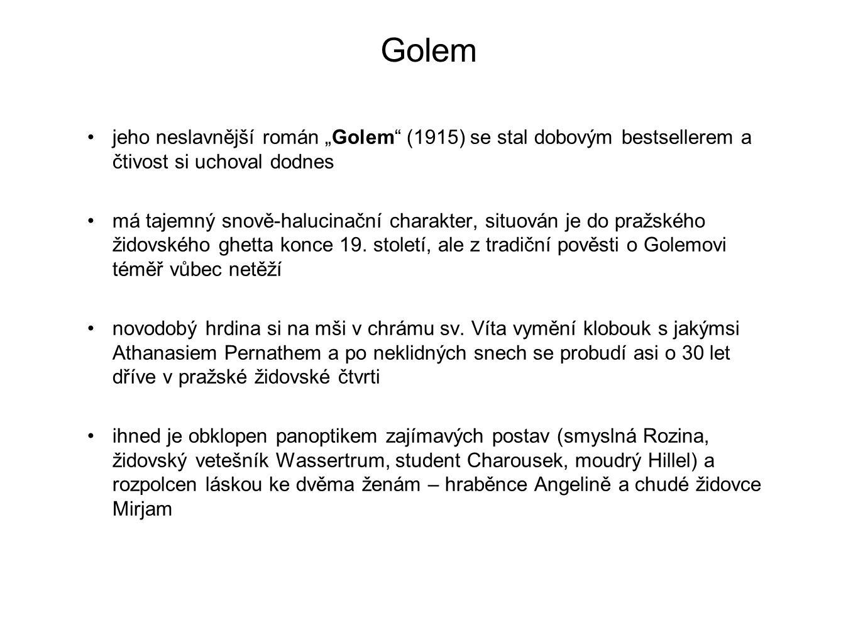 """Golem jeho neslavnější román """"Golem"""" (1915) se stal dobovým bestsellerem a čtivost si uchoval dodnes má tajemný snově-halucinační charakter, situován"""