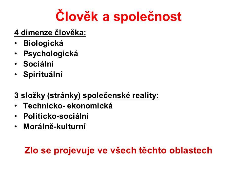 Člověk a společnost 4 dimenze člověka: Biologická Psychologická Sociální Spirituální 3 složky (stránky) společenské reality: Technicko- ekonomická Pol