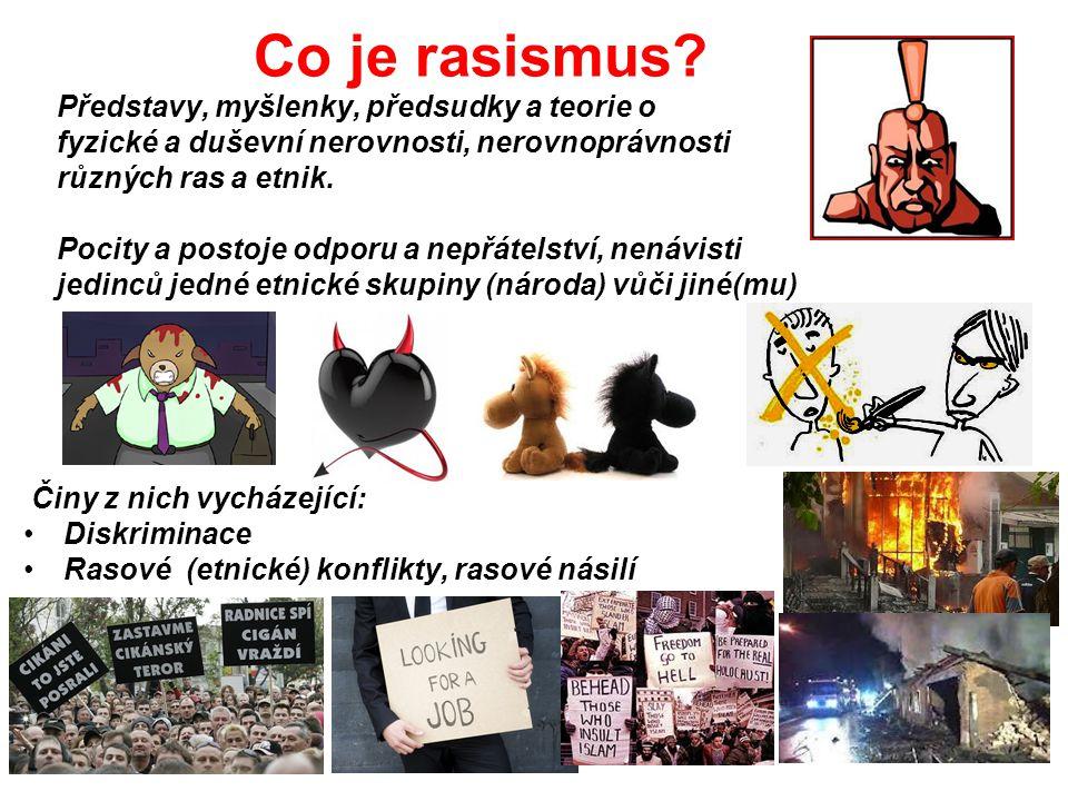 Co je rasismus? Představy, myšlenky, předsudky a teorie o fyzické a duševní nerovnosti, nerovnoprávnosti různých ras a etnik. Pocity a postoje odporu