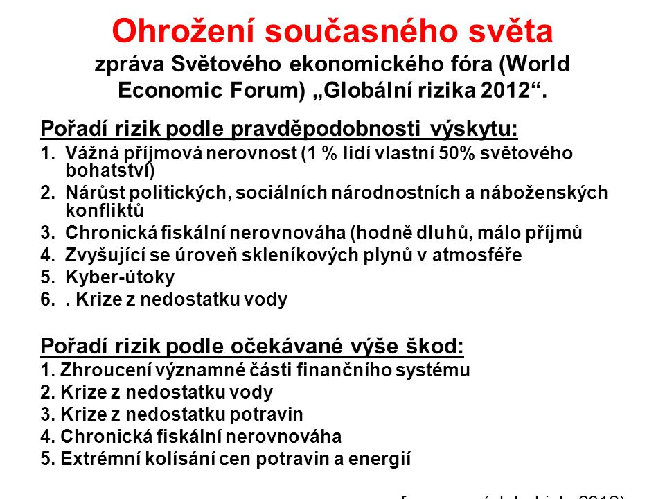 """Ohrožení současného světa zpráva Světového ekonomického fóra (World Economic Forum) """"Globální rizika 2012"""". Pořadí rizik podle pravděpodobnosti výskyt"""