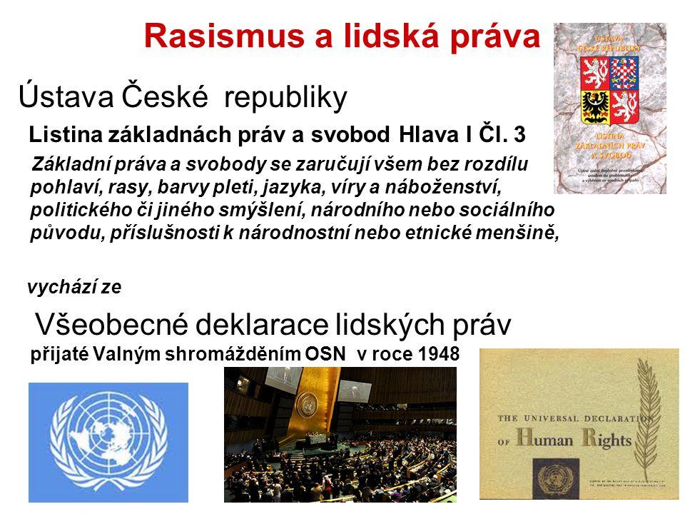 Rasismus a lidská práva Ústava České republiky Listina základnách práv a svobod Hlava I Čl. 3 Základní práva a svobody se zaručují všem bez rozdílu po