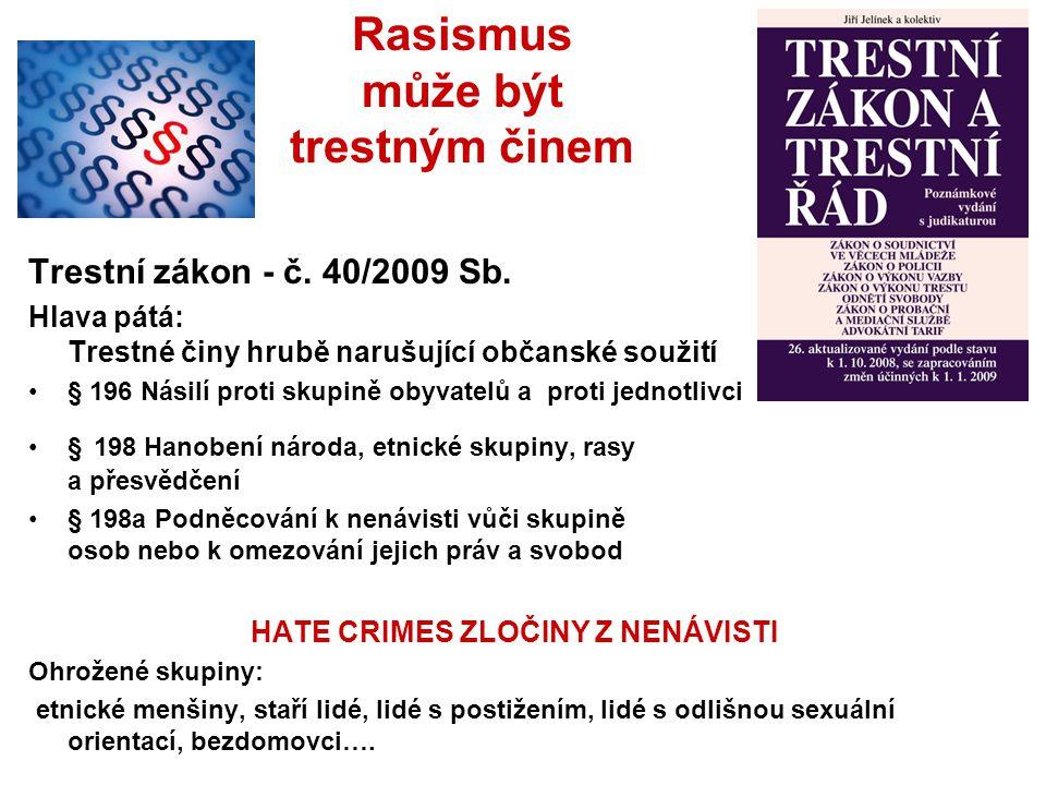 Trestní zákon - č. 40/2009 Sb. Hlava pátá: Trestné činy hrubě narušující občanské soužití § 196 Násilí proti skupině obyvatelů a proti jednotlivci § 1