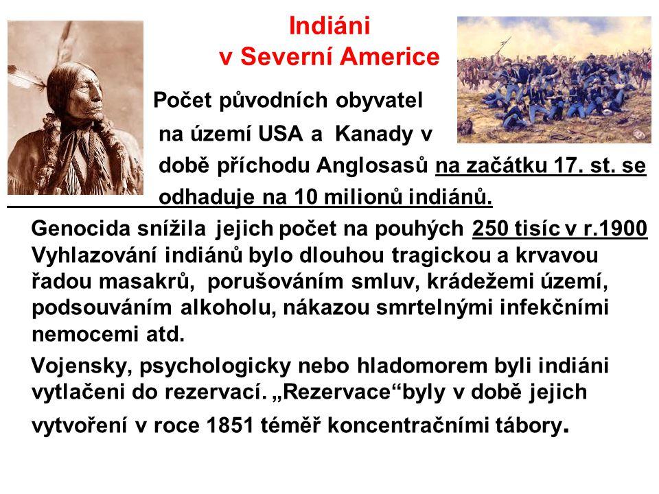 Indiáni v Severní Americe Počet původních obyvatel na území USA a Kanady v době příchodu Anglosasů na začátku 17. st. se odhaduje na 10 milionů indián