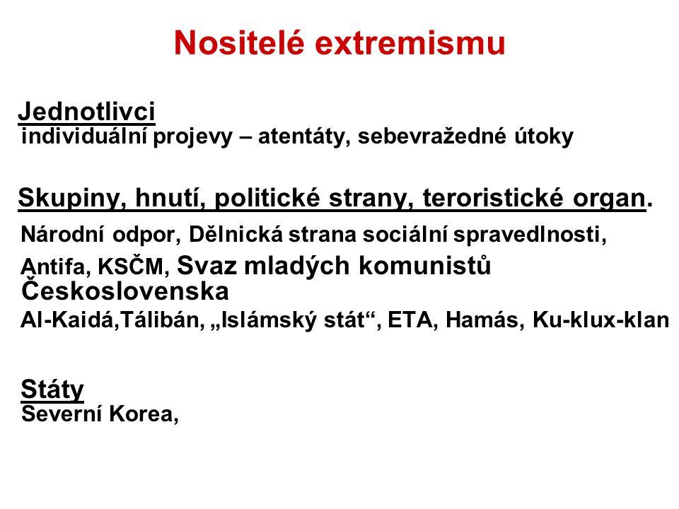 Nositelé extremismu Jednotlivci individuální projevy – atentáty, sebevražedné útoky Skupiny, hnutí, politické strany, teroristické organ. Národní odpo