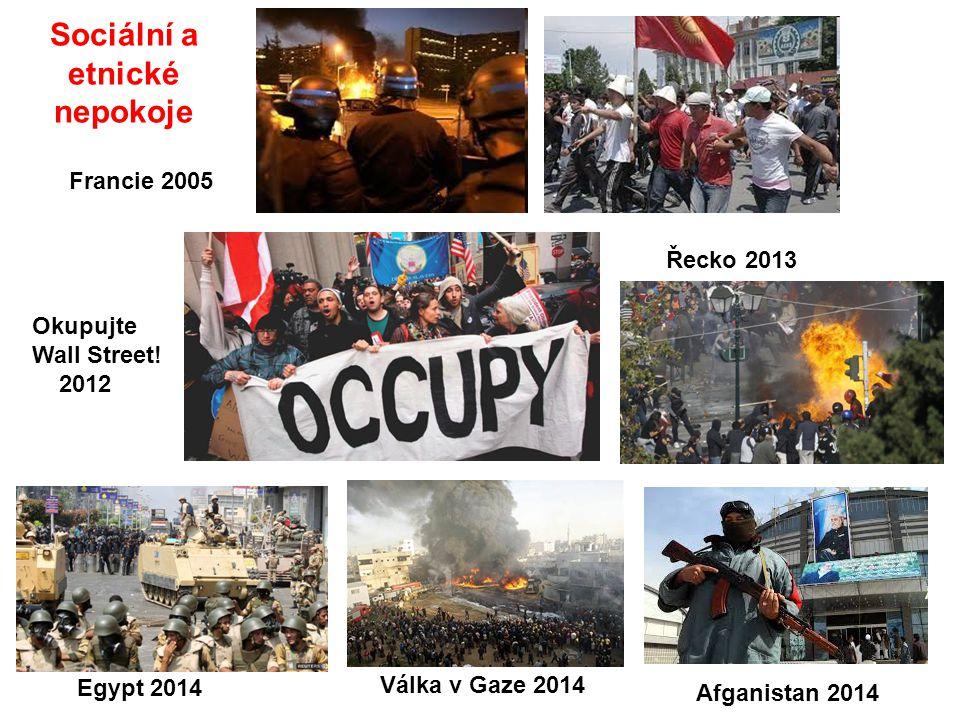 Sociální a etnické nepokoje Okupujte Wall Street! 2012 Francie 2005 Egypt 2014 Válka v Gaze 2014 Afganistan 2014 Řecko 2013